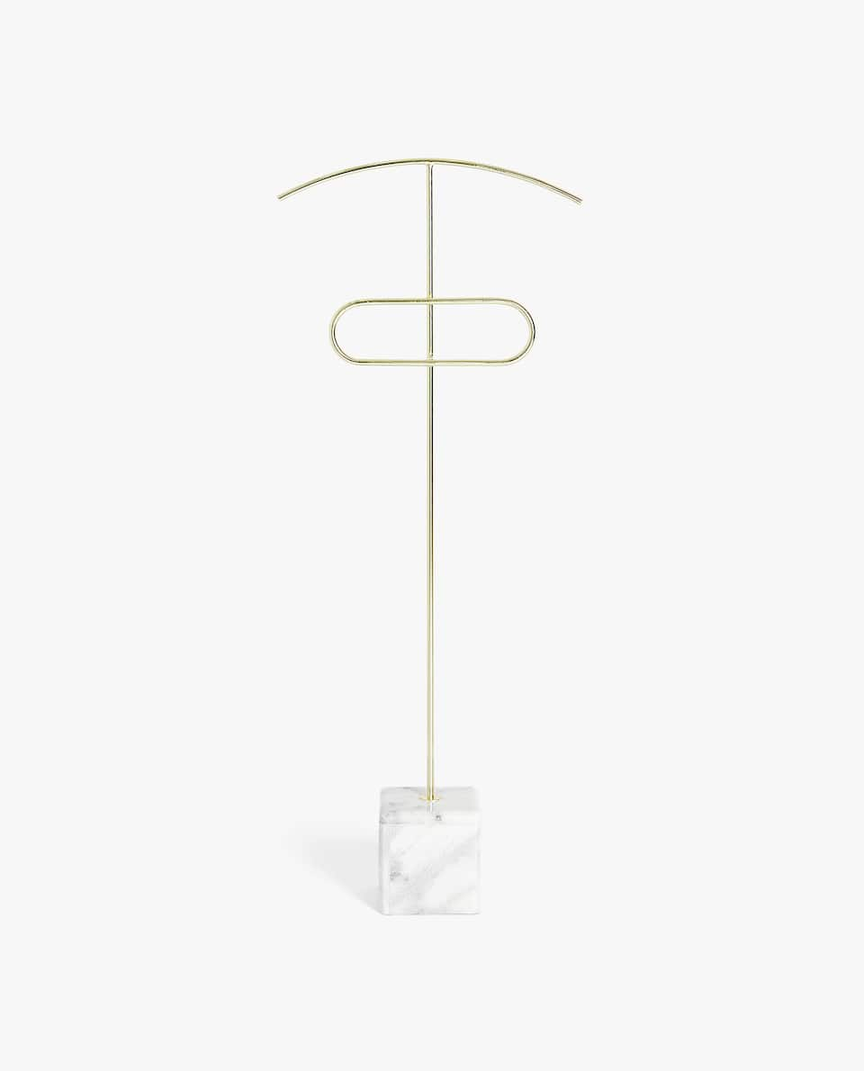 GOLDEN CLOTHES RACK WITH MARBLE BASE