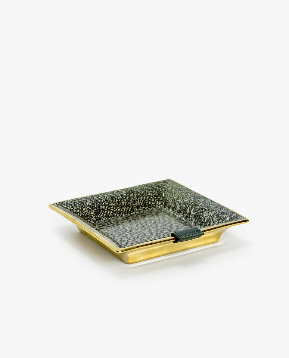 PRINT ASHTRAY WITH LEATHER DETAIL