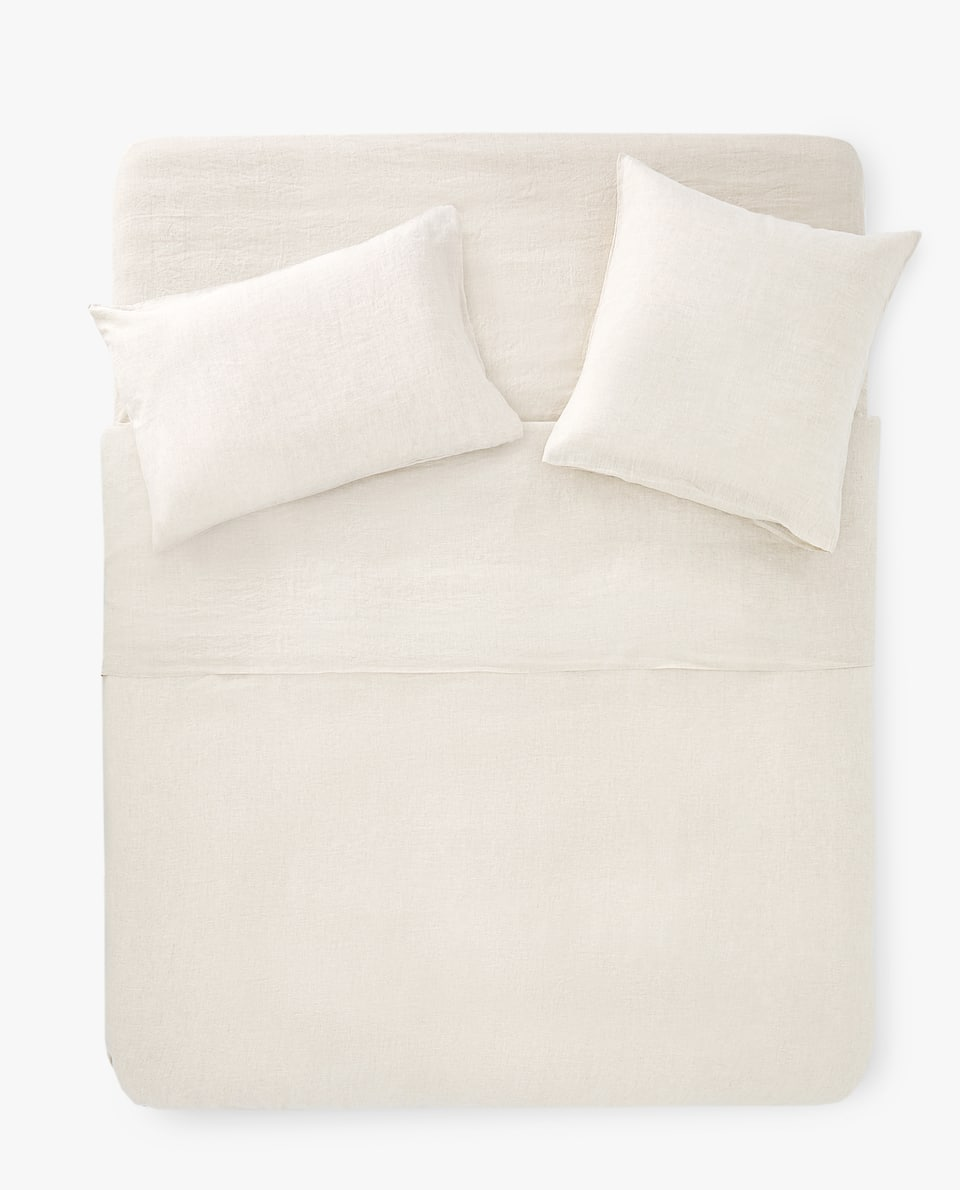 NATURAL-COLOUR LINEN DUVET COVER