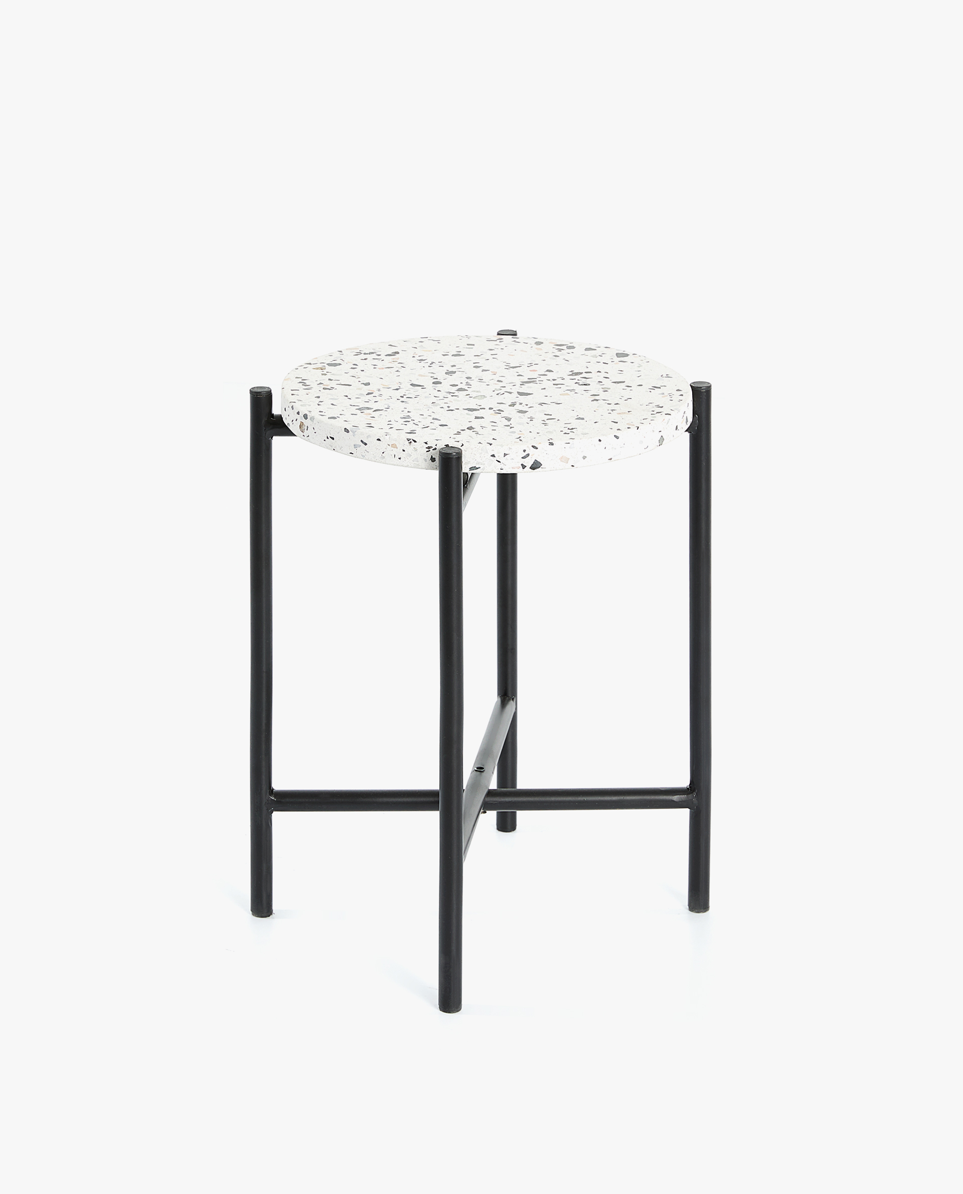Terrazzo Table With Metallic Structure