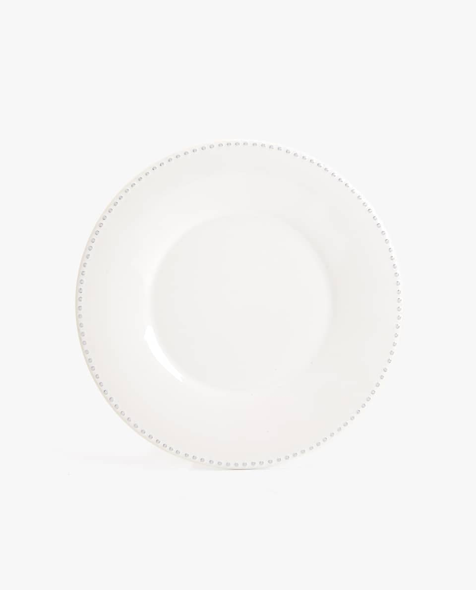 EARTHENWARE DINNER PLATE WITH RAISED-DESIGN EDGE