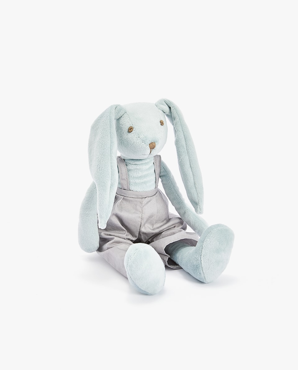 RABBIT SOFT TOY WITH GREY DUNGAREES