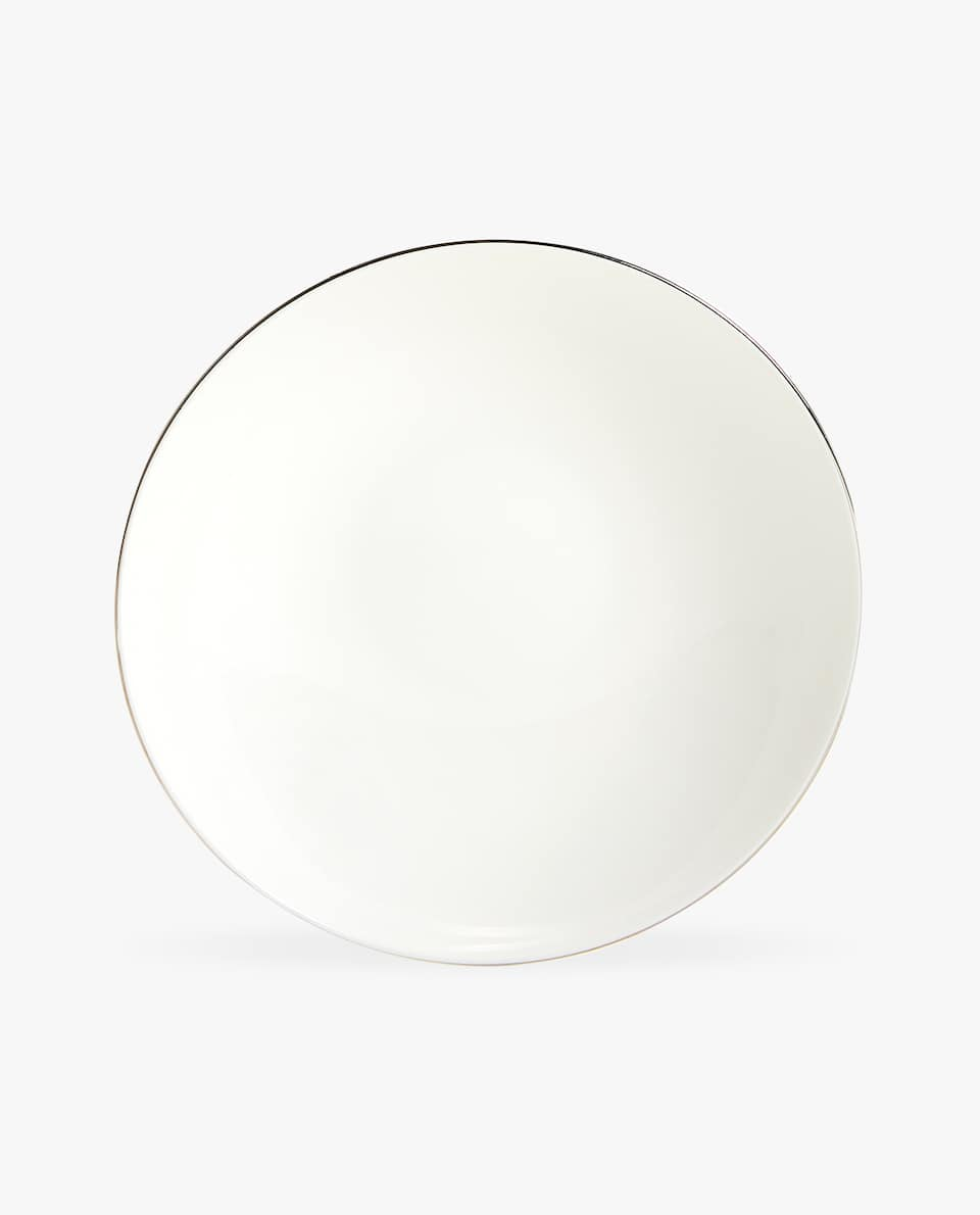PORCELAIN SOUP PLATE WITH SILVER RIM