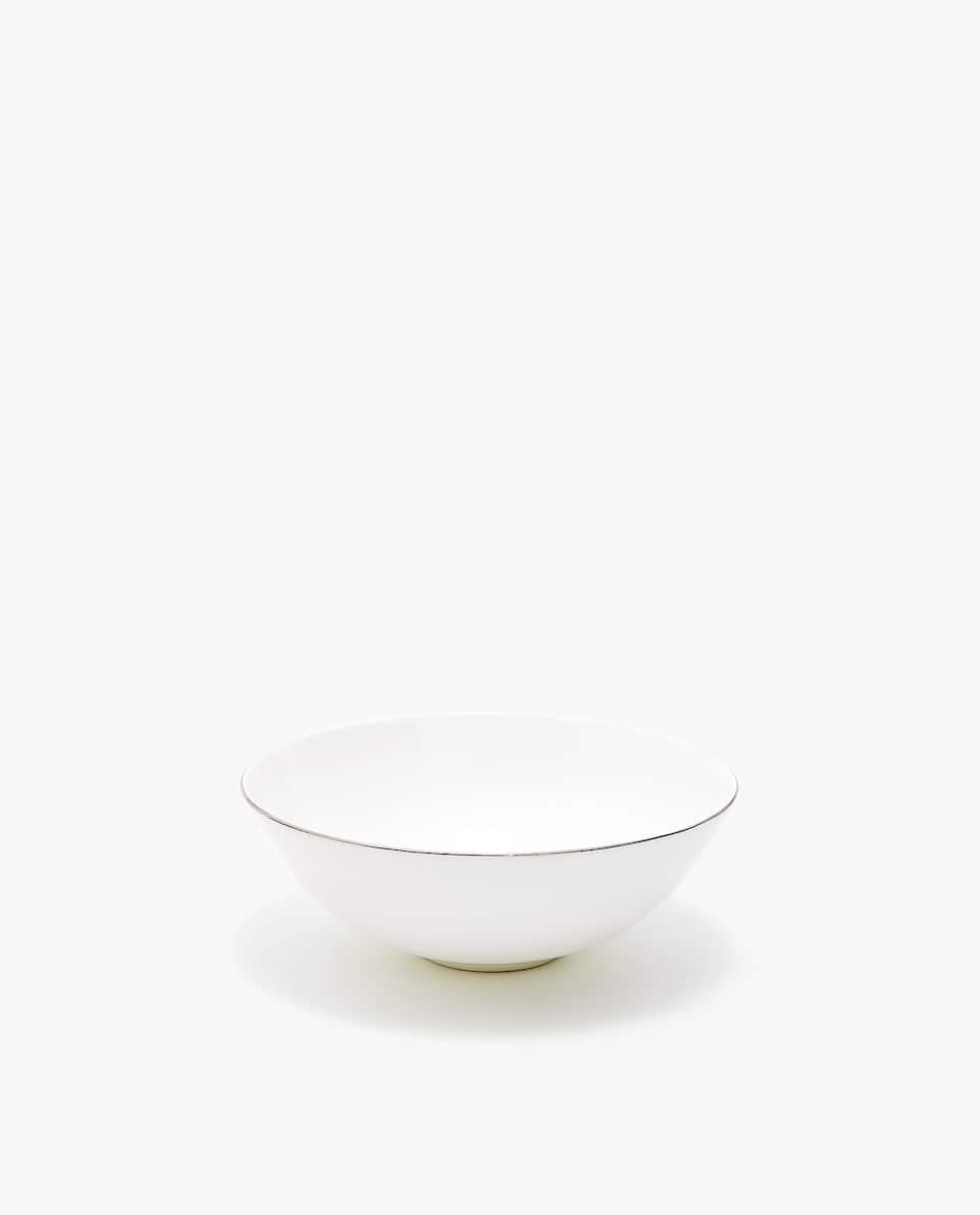 PORCELAIN BOWL WITH SILVER RIM