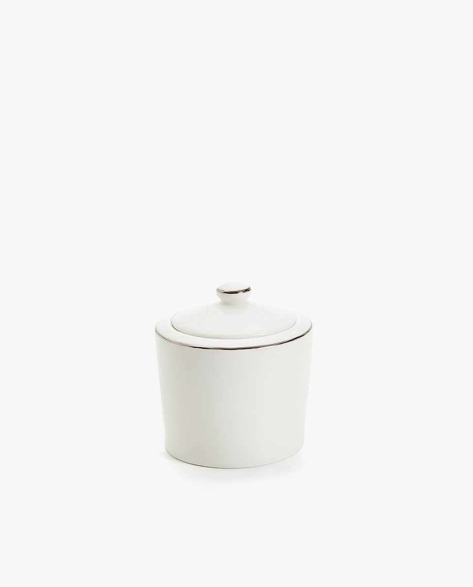 PORCELAIN SUGAR BOWL WITH SILVER RIM