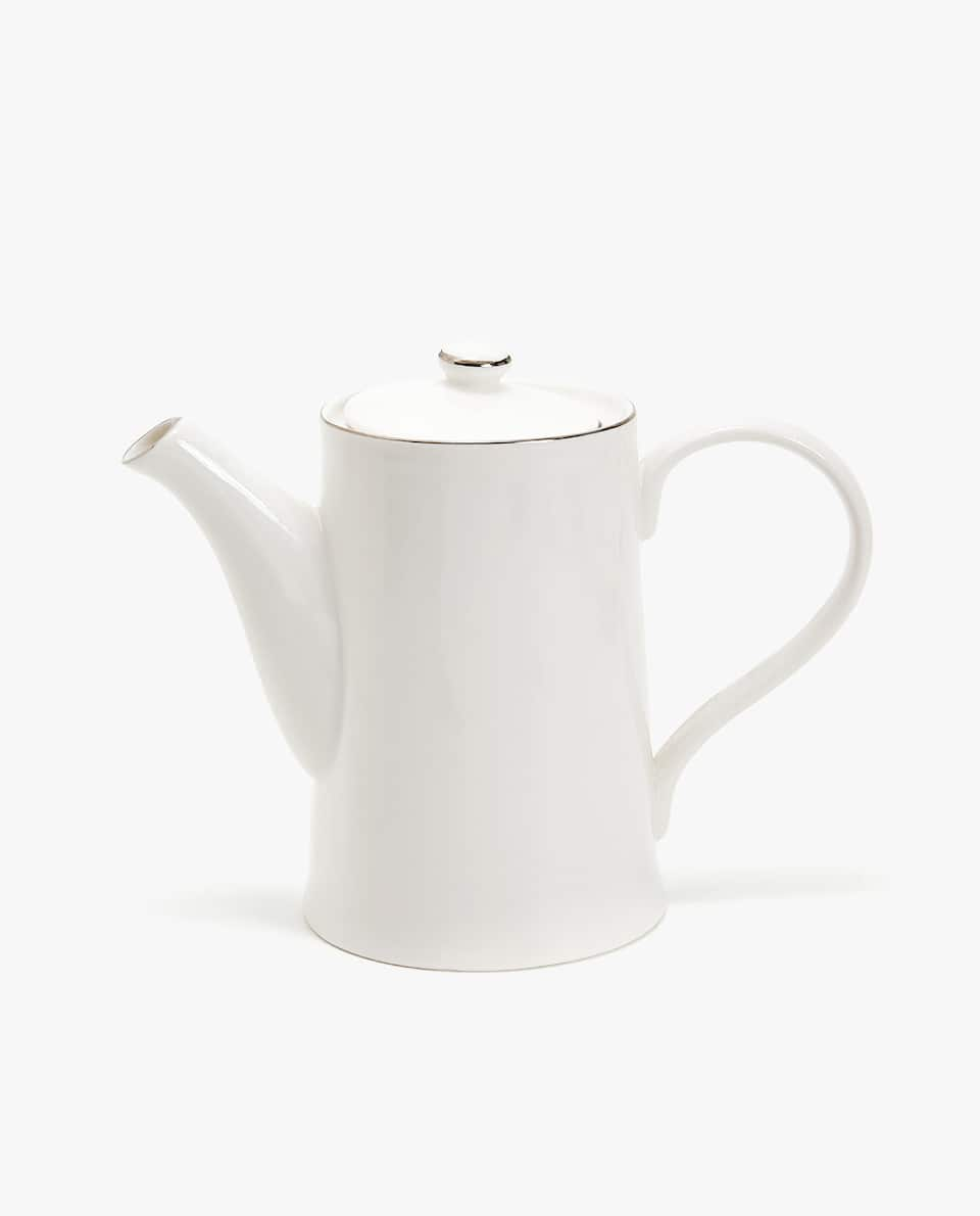 PORCELAIN TEAPOT WITH SILVER RIM