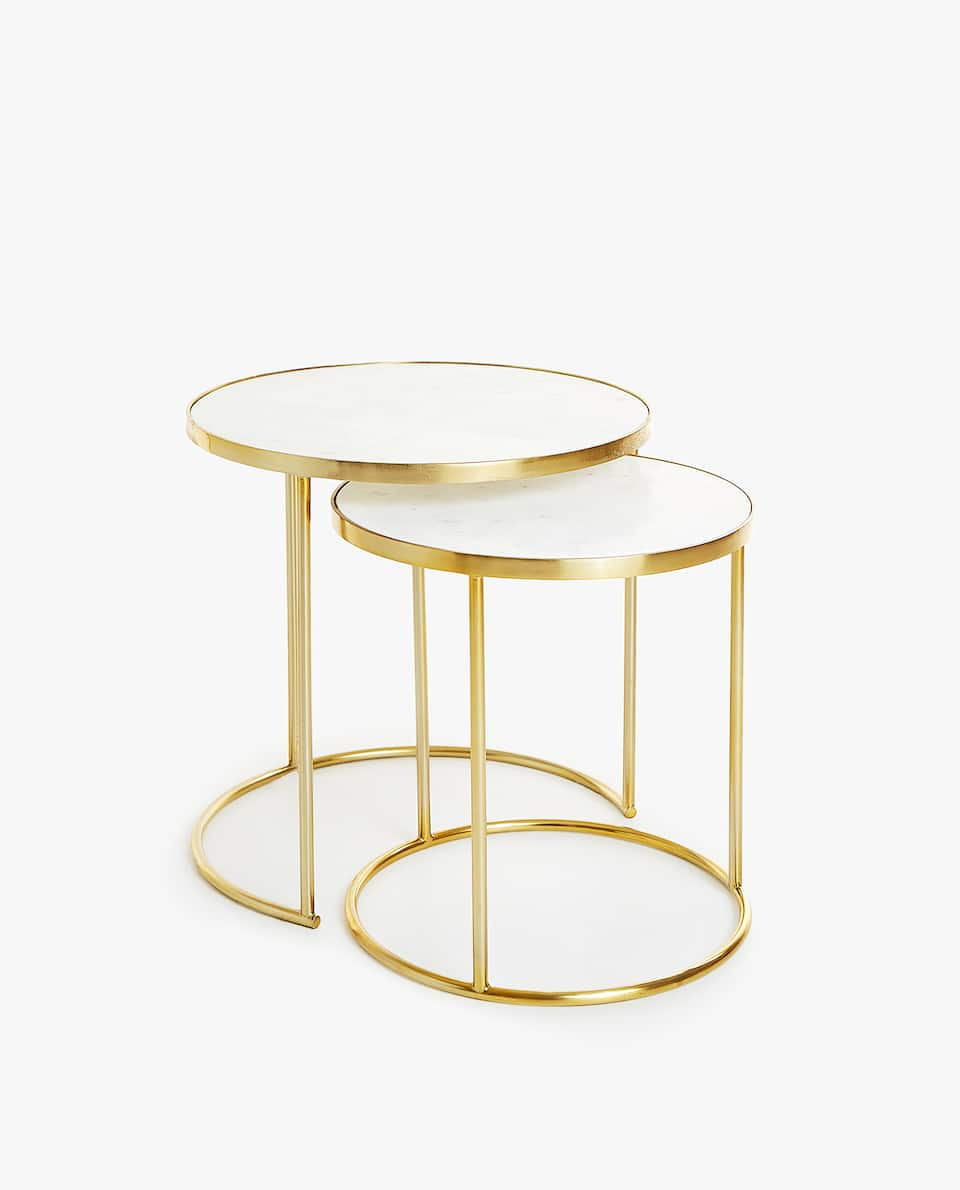MARBLE NESTING TABLES WITH GOLDEN BASE (SET OF 2)