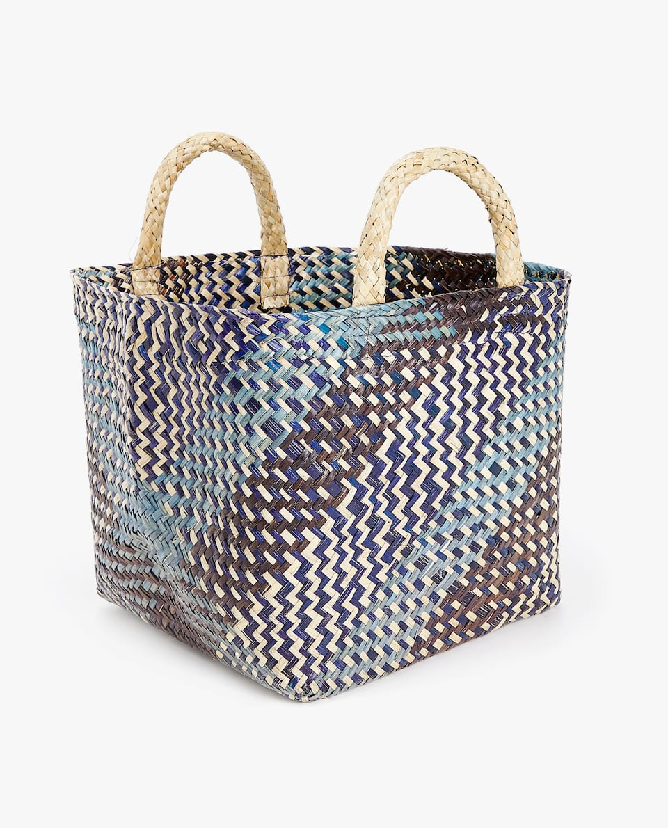 TWO-TONE BASKET WITH HANDLES