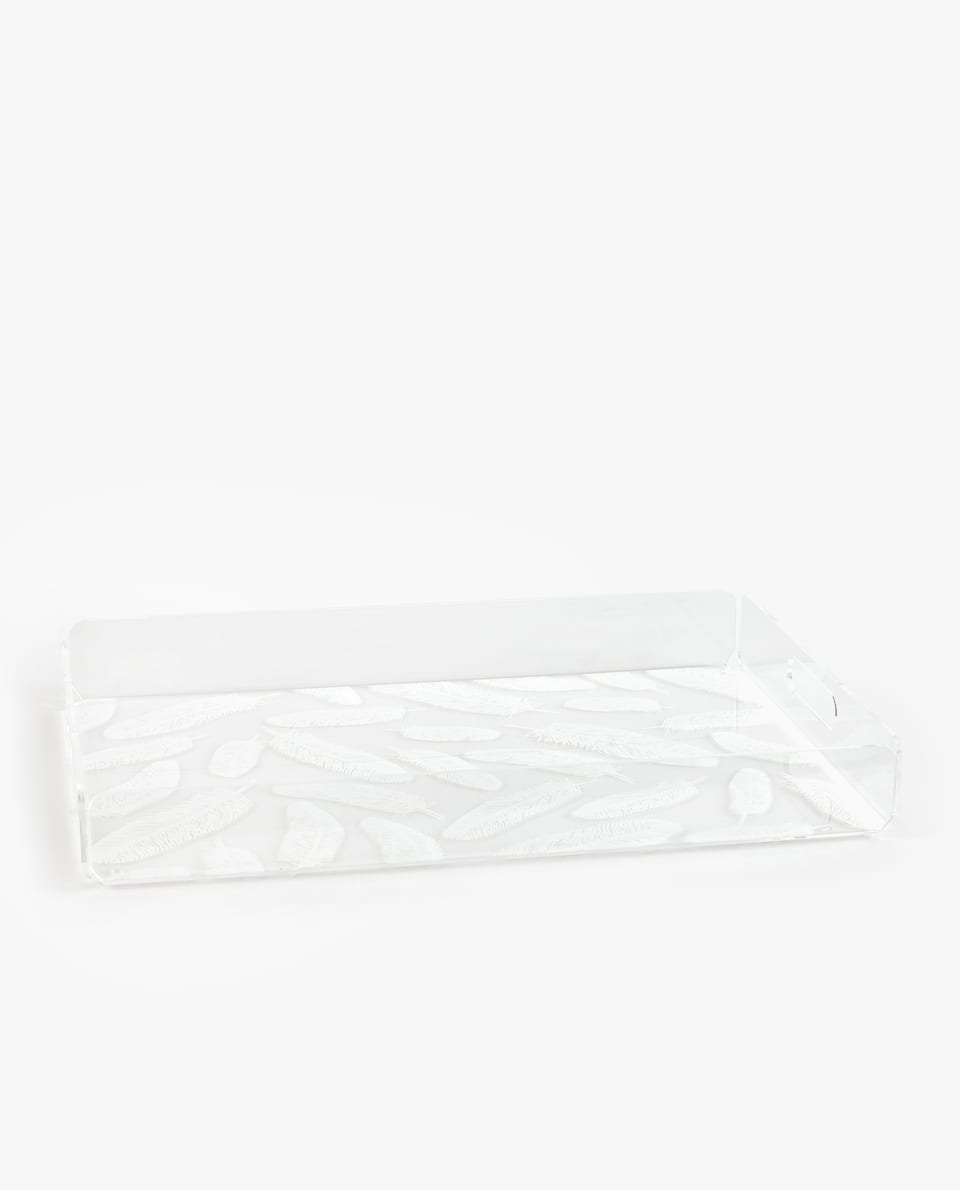 TRANSPARENT TRAY WITH LARGE FEATHER PRINT