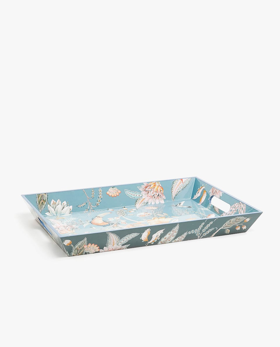 FLORAL AND BIRD DESIGN TRAY