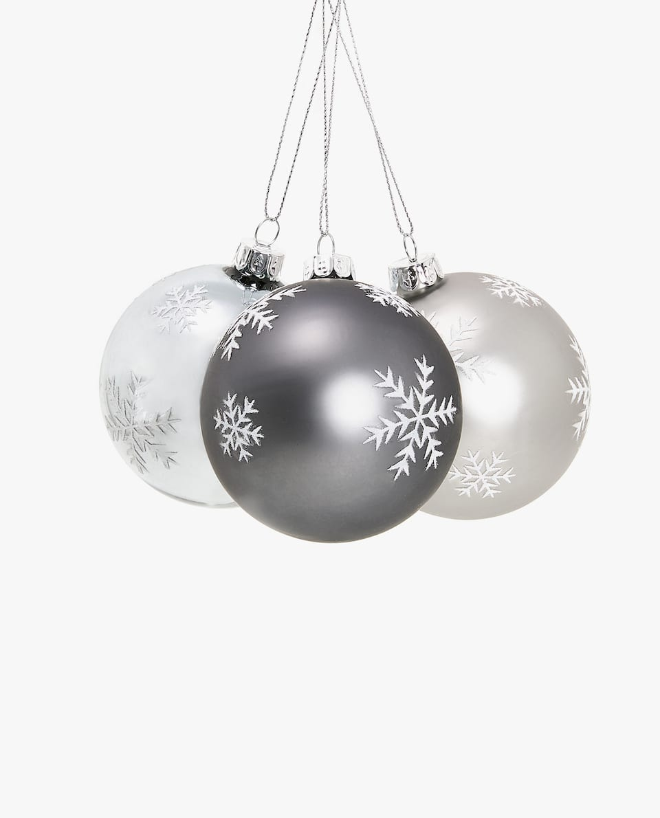 BAUBLE WITH DESIGN (PACK OF 3)