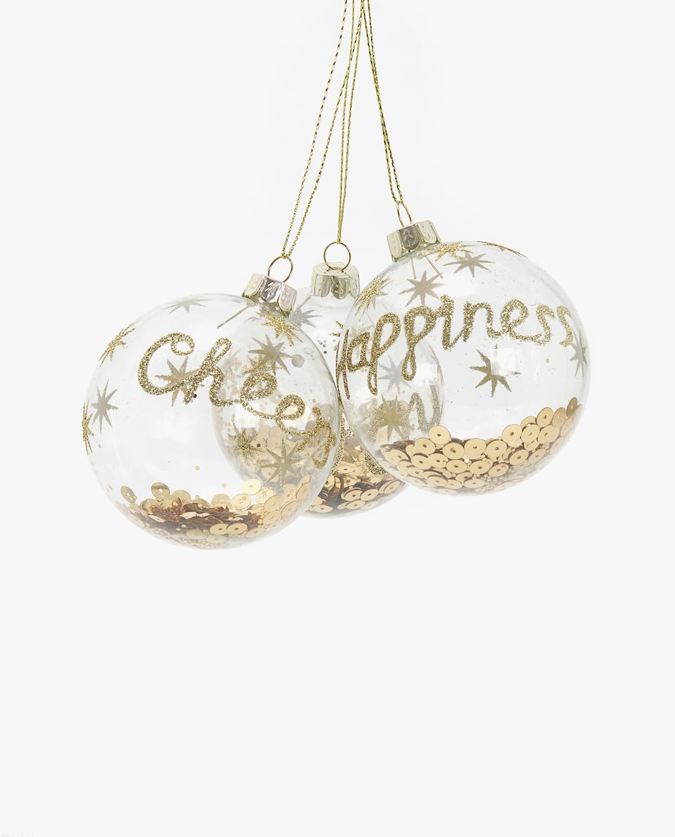SEQUIN-FILLED CHRISTMAS BAUBLE (PACK OF 3)