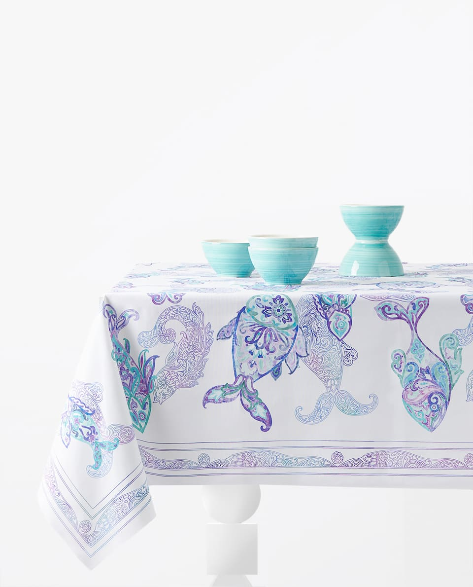 PAISLEY FISH TABLECLOTH