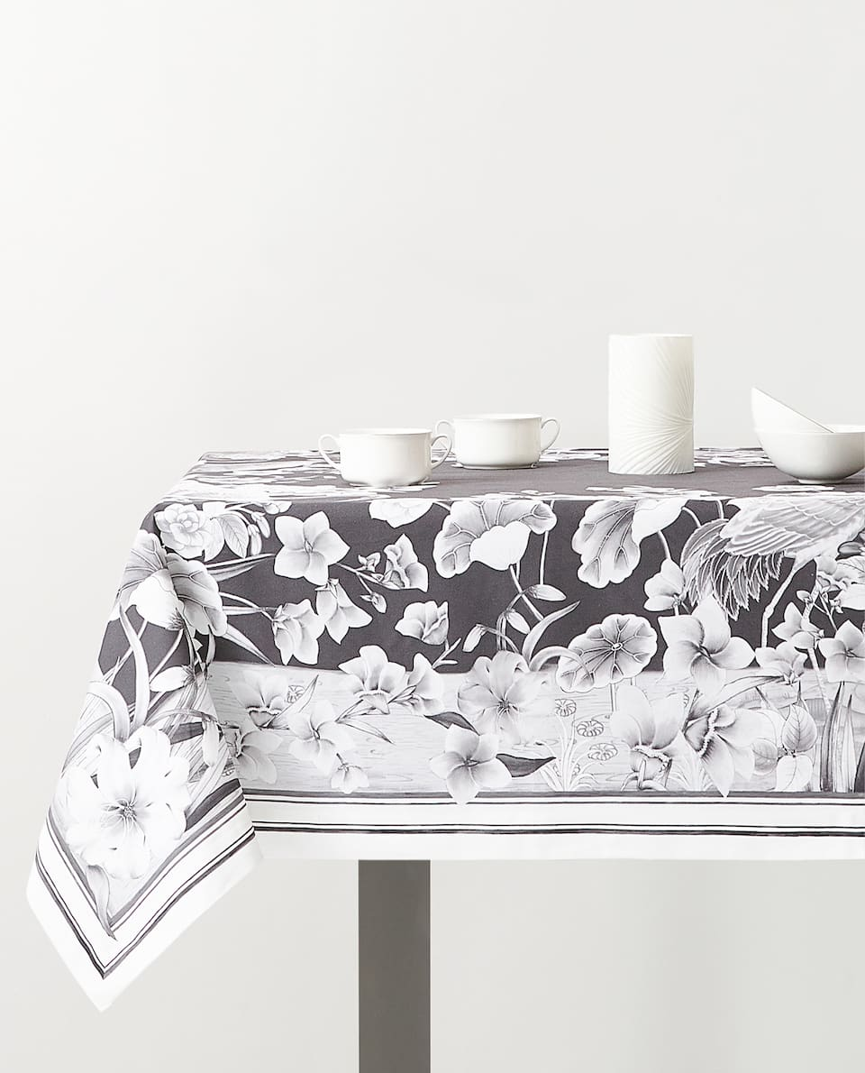 CRANE PRINT TABLECLOTH
