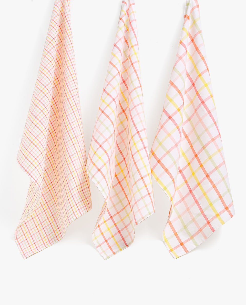 MULTICOLOURED CHECK TEA TOWEL (SET OF 2)