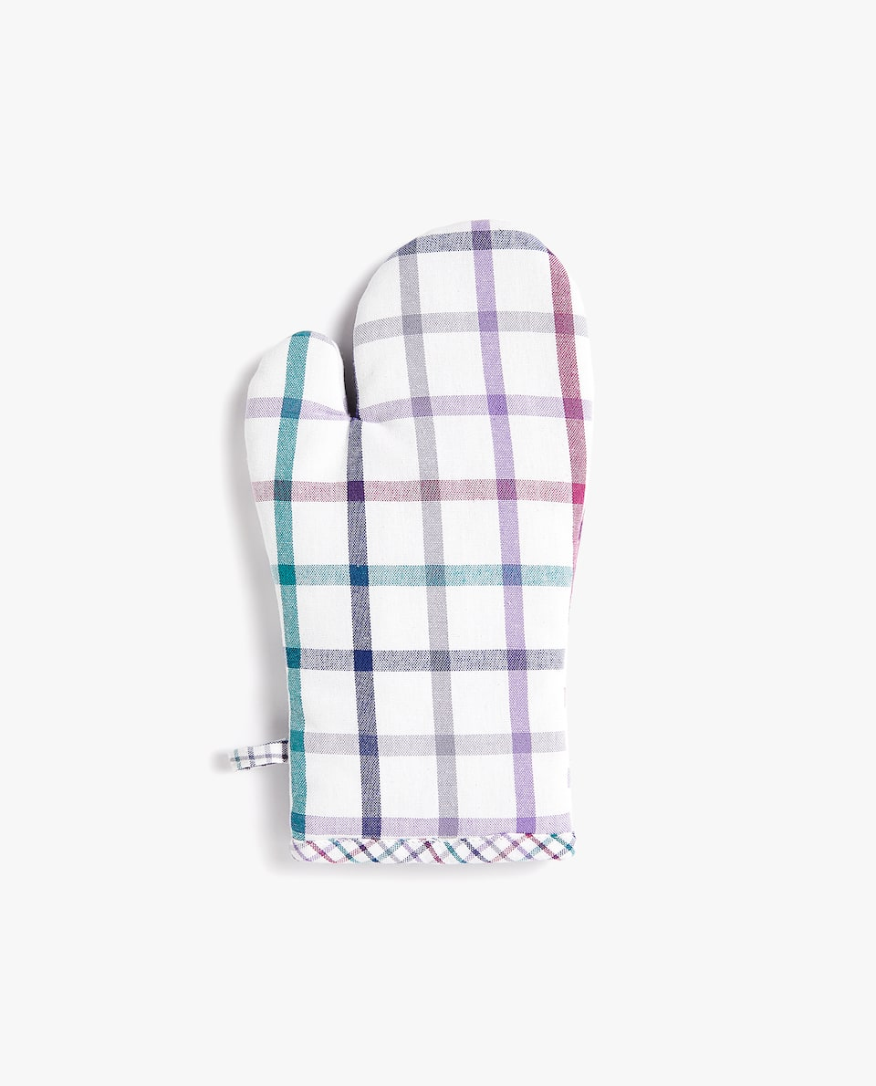 MULTICOLOURED CHECK OVEN GLOVE