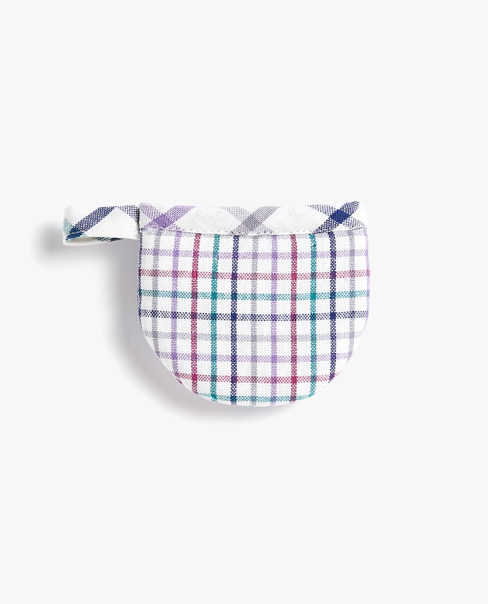 MULTICOLOURED CHECK MINI POT HOLDER (SET OF 2)