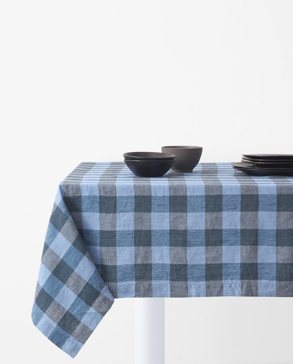 GINGHAM CHECK LINEN TABLECLOTH