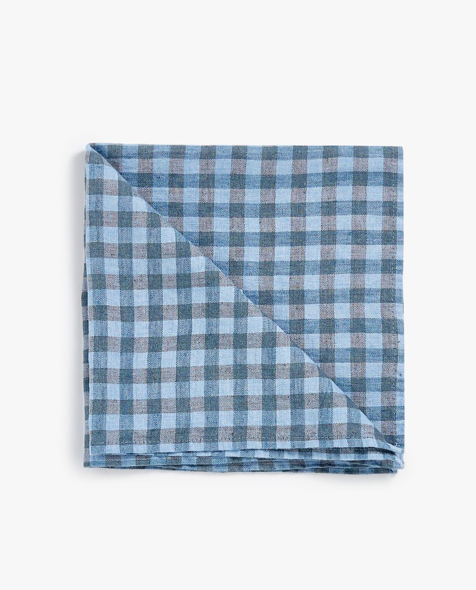 GINGHAM CHECK LINEN NAPKIN (PACK OF 2)