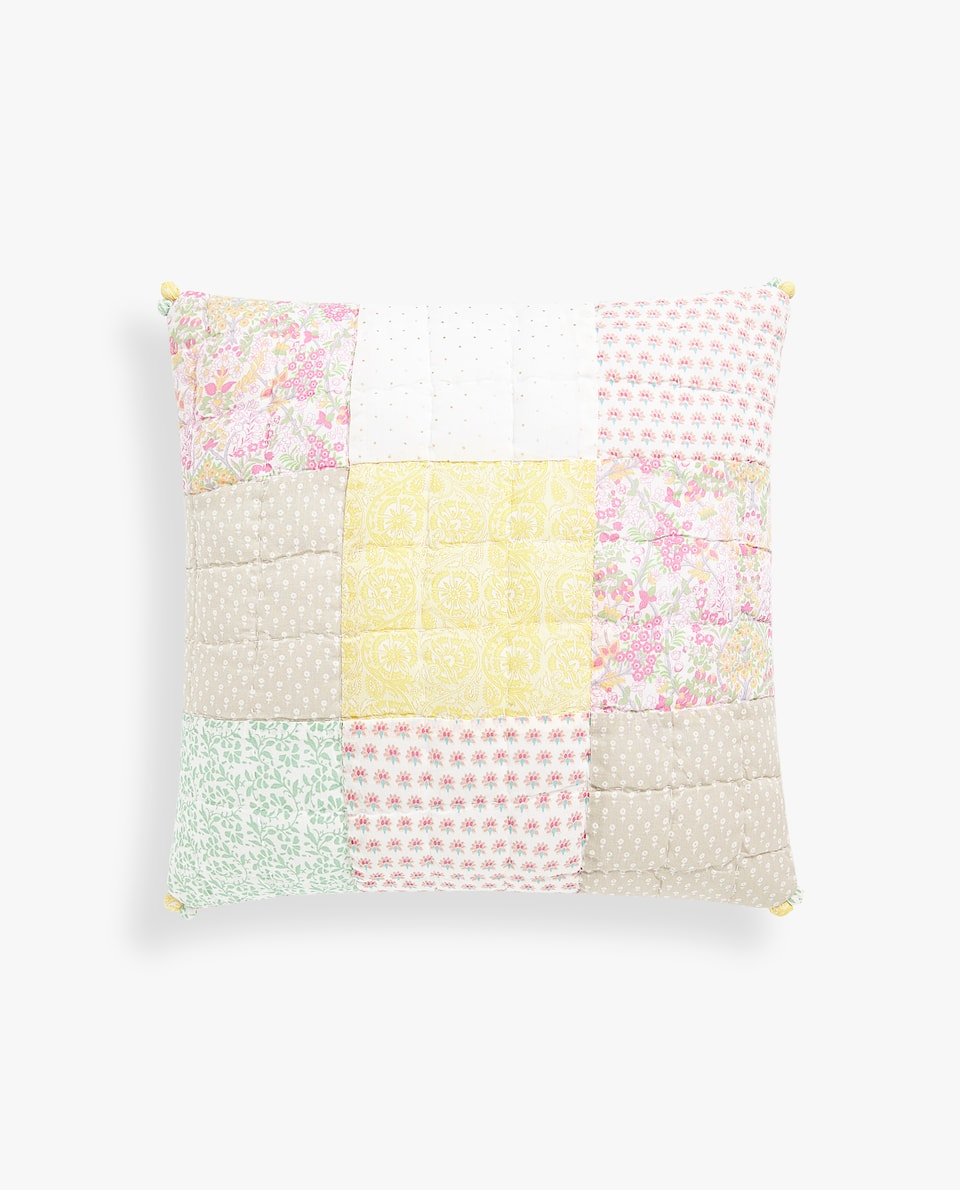 MULTICOLOURED PATCHWORK CUSHION COVER