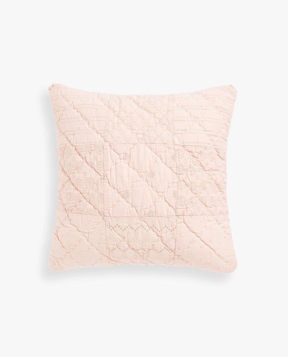COTTON CUSHION COVER WITH BROIDERIE ANGLAISE