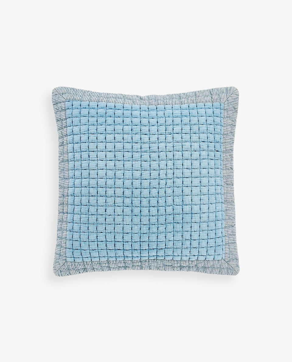 CUSHION COVER WITH BACKSTITCHING CHECKS