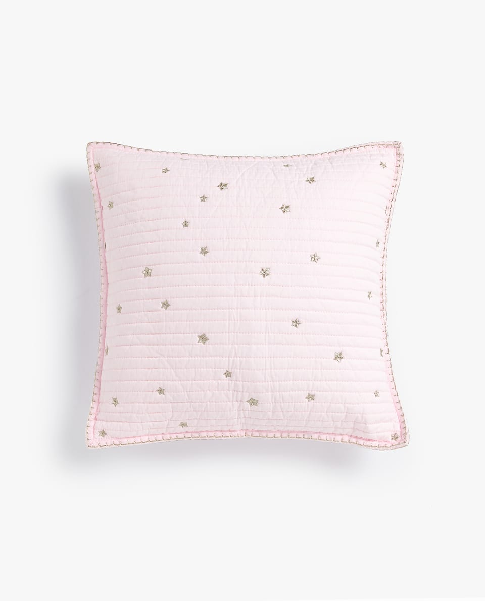 METALLIC EMBROIDERED STARS CUSHION COVER