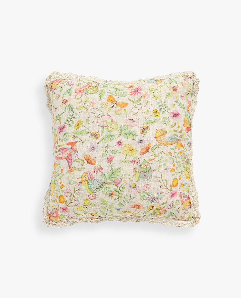 BIRD PRINT LINEN CUSHION COVER