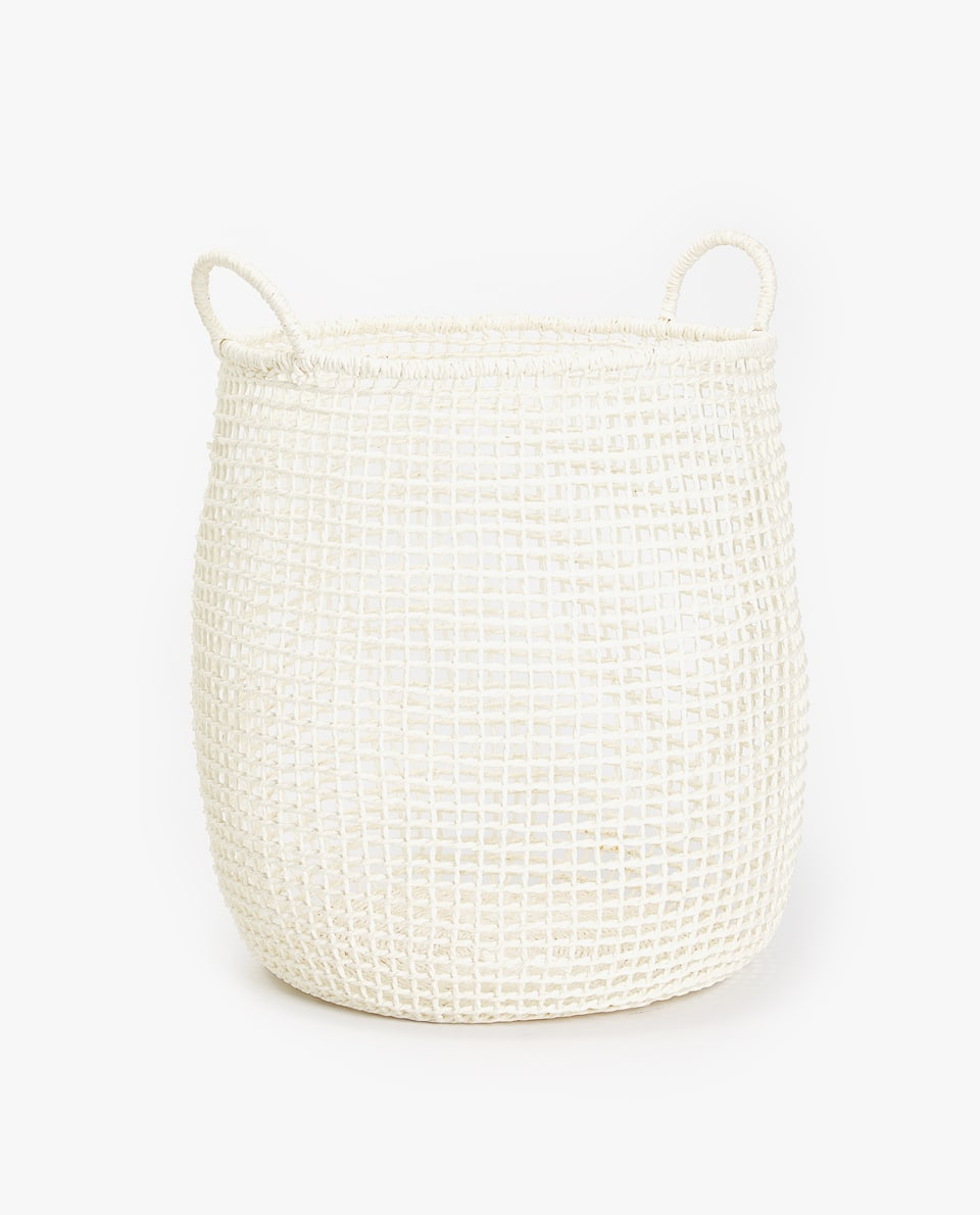 NATURAL FIBRE BASKET WITH SQUARE DESIGN