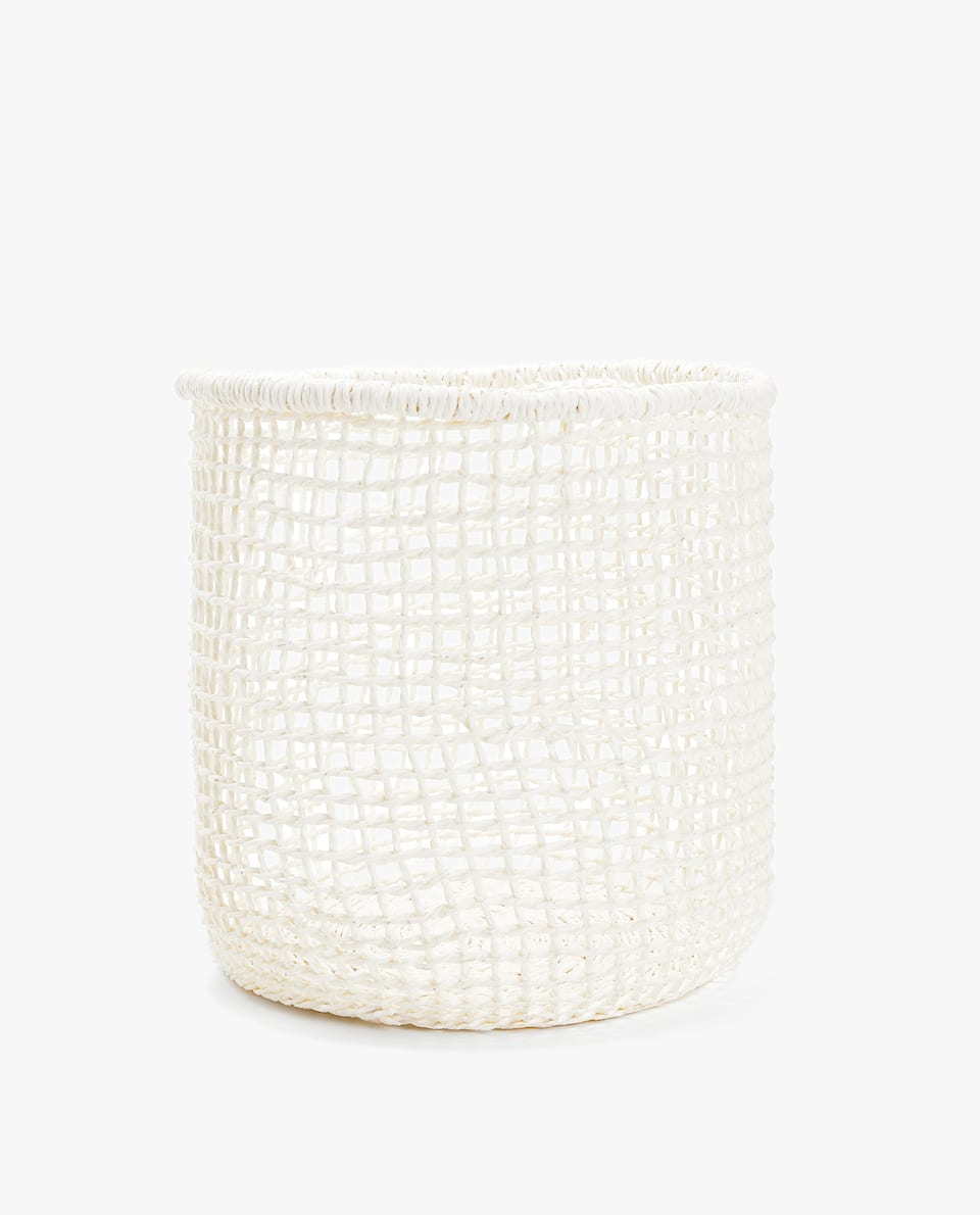 NATURAL FIBRE WASTEPAPER BASKET WITH SQUARE DESIGN