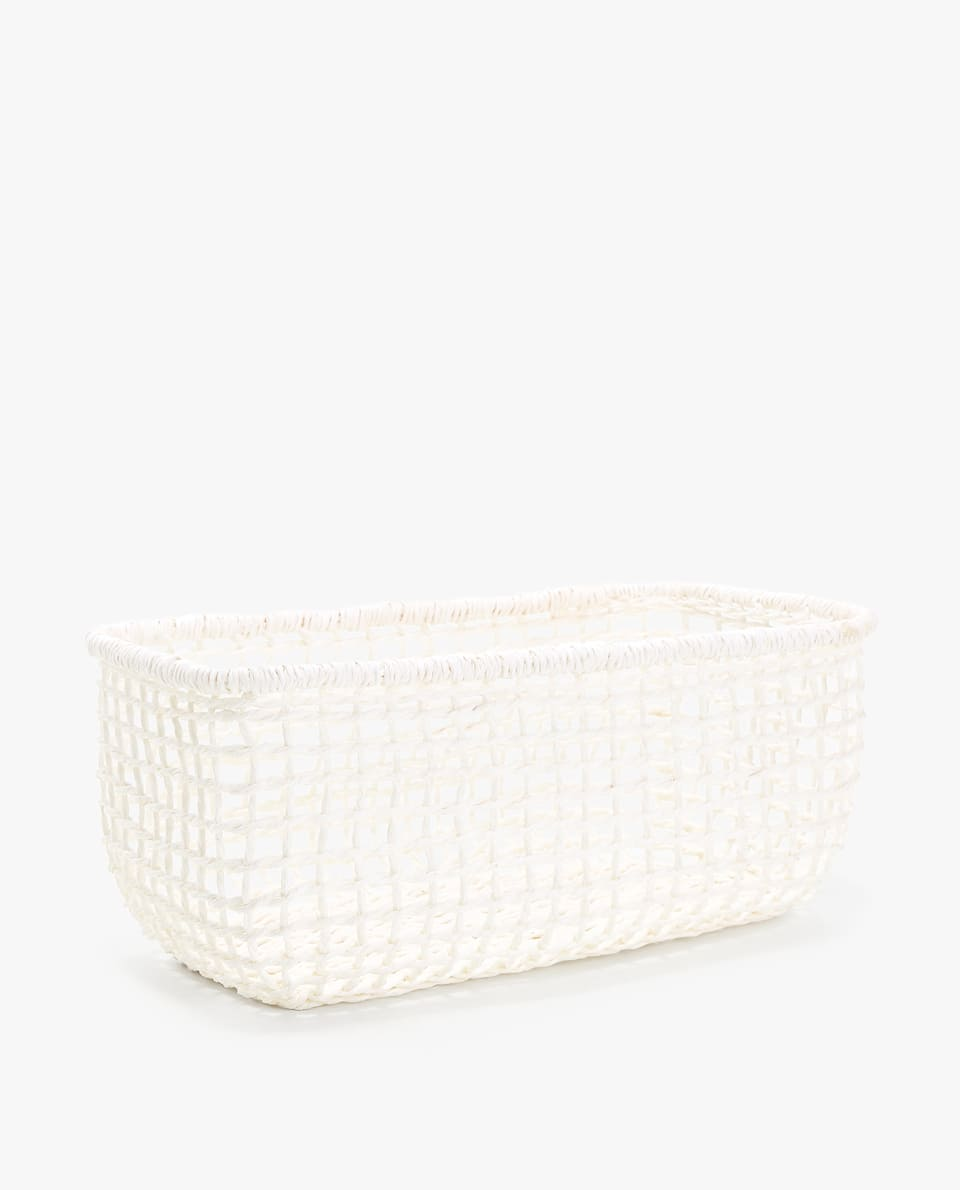 RECTANGULAR NATURAL FIBER BASKET WITH SQUARE PATTERN