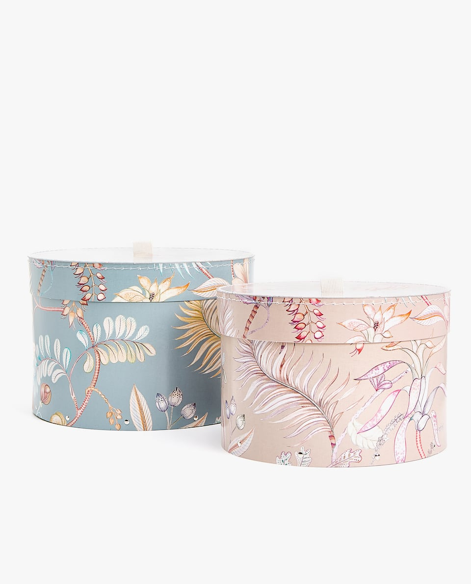 ROUND FLORAL PRINT BOX