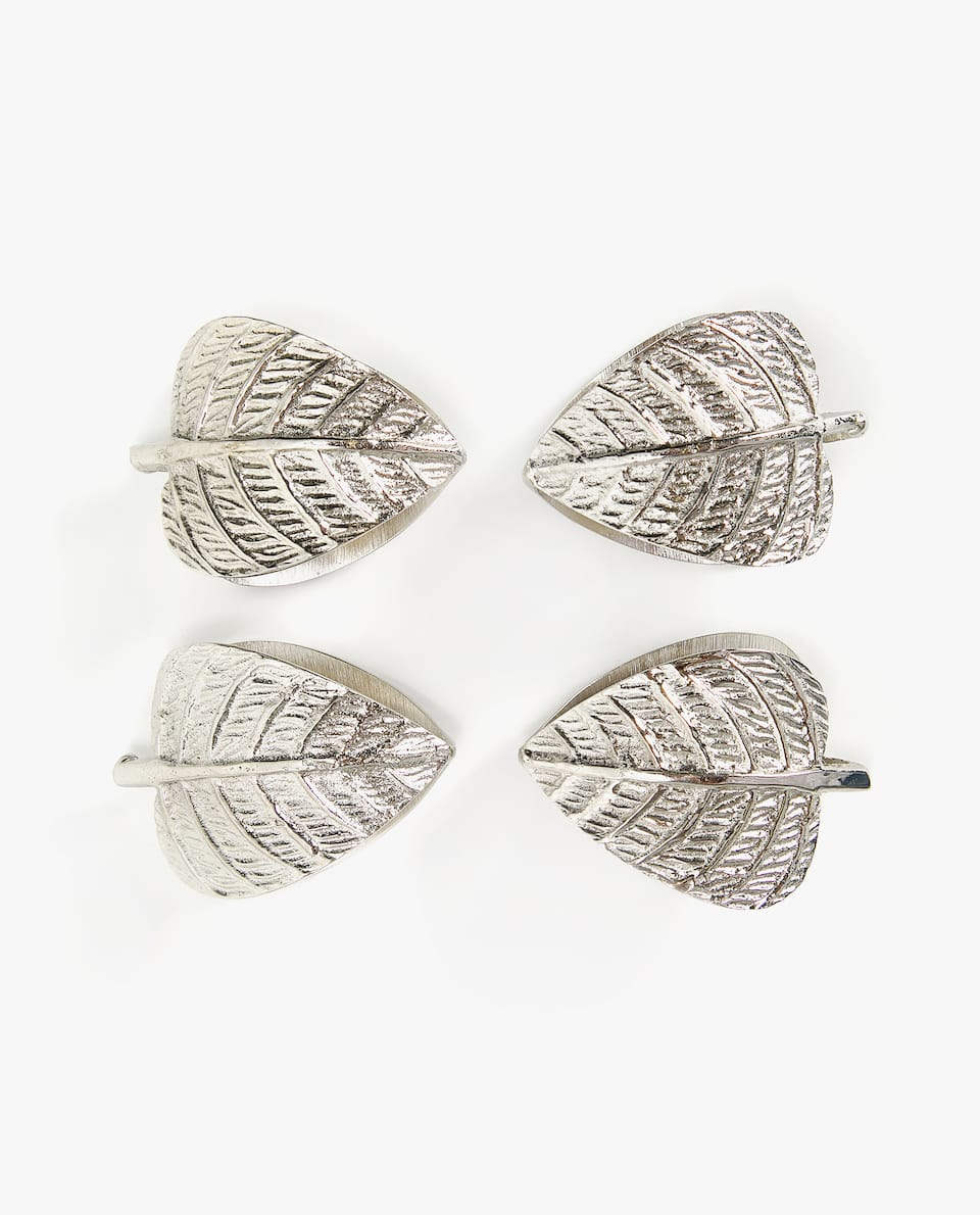 LEAF SHAPED NAPKIN RING (PACK OF 4)
