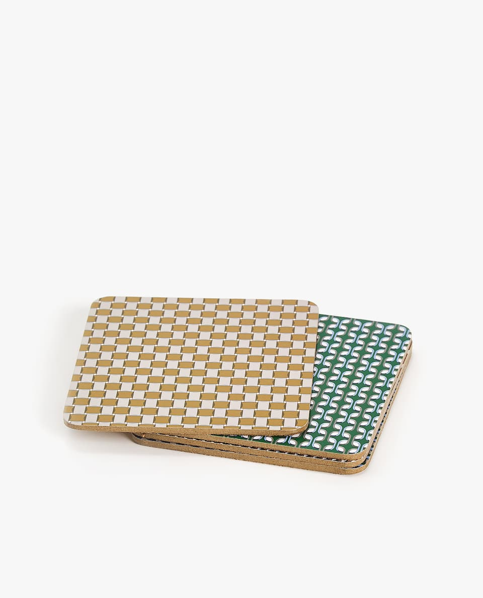 GEOMETRIC PRINT COASTER (PACK OF 4)