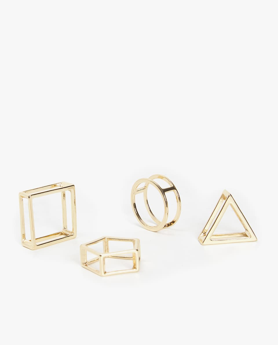 ASSORTED GEOMETRIC NAPKIN RING (PACK OF 4)