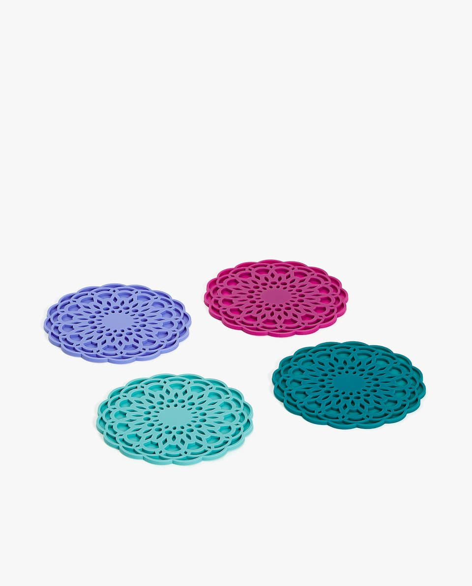 ASSORTED DIE-CUT FLOWER COASTER (PACK OF 4)
