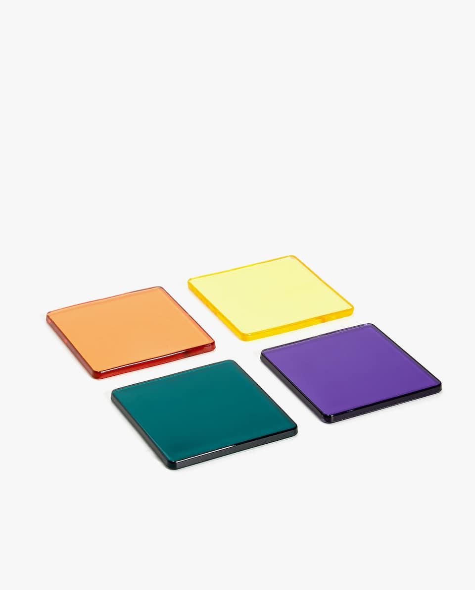 ASSORTED ACRYLIC COASTER (PACK OF 4)