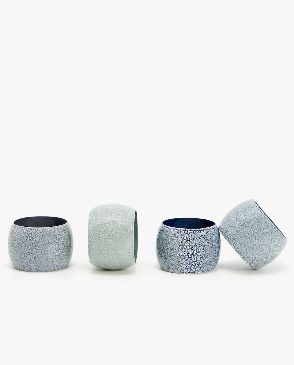 ASSORTED ENAMELLED NAPKIN RING (PACK OF 4)