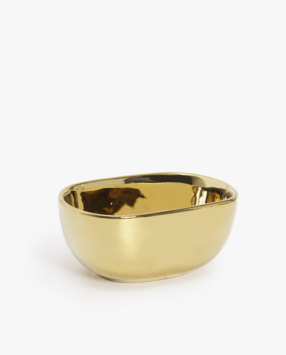 SMALL GOLD PORCELAIN BOWL