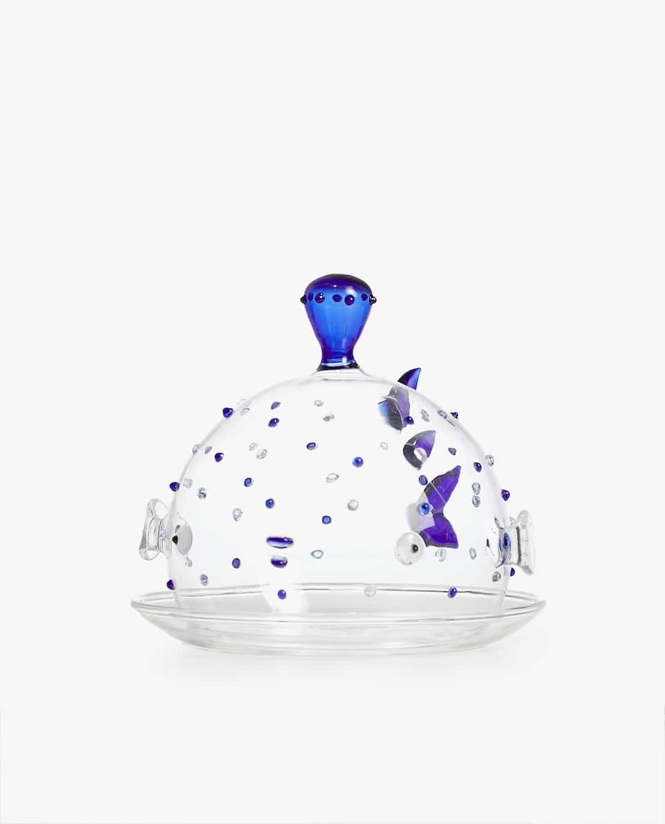 FISH BOROSILICATE GLASS BUTTER DISH