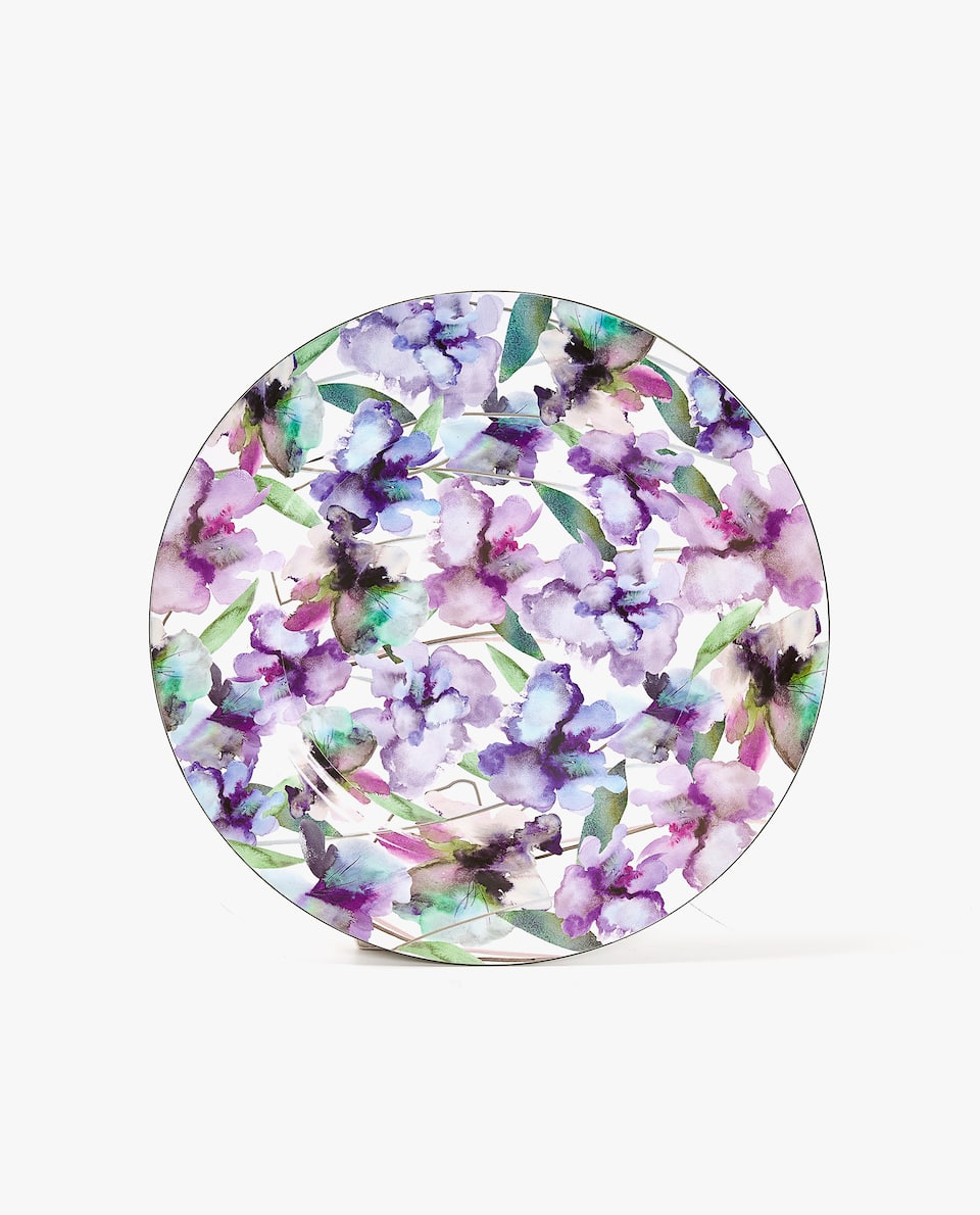 WATERCOLOUR FLOWERS PLASTIC CHARGER PLATE
