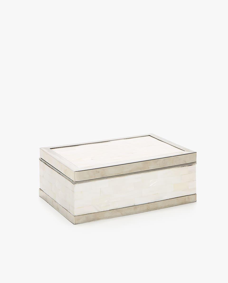 BOX AUS PERLMUTT UND METALL