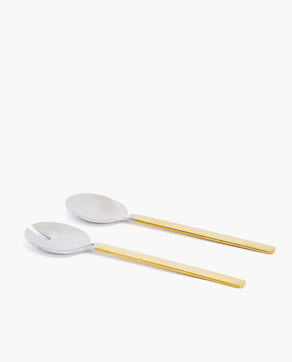 ROUNDED STEEL SERVING SPOON AND FORK (SET OF 2)
