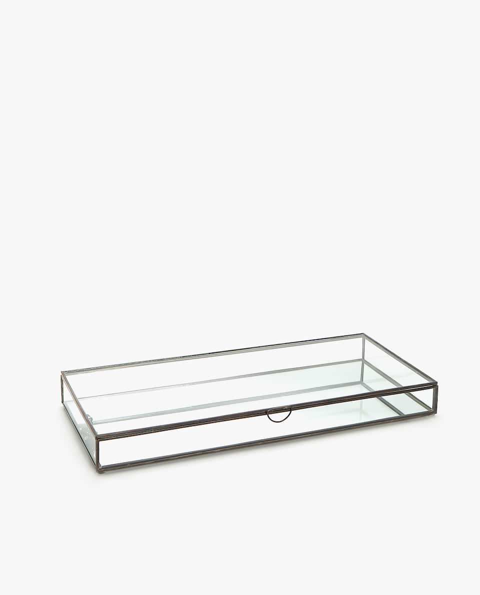 GLASS BOX WITH ANTIQUE-FINISH METAL EDGE