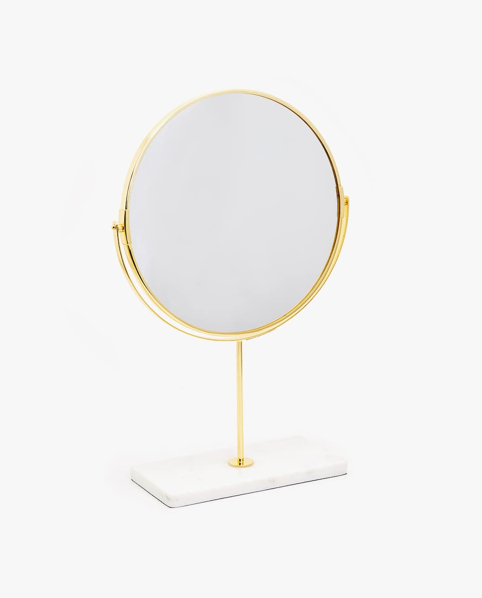 FREESTANDING MIRROR WITH MARBLE BASE