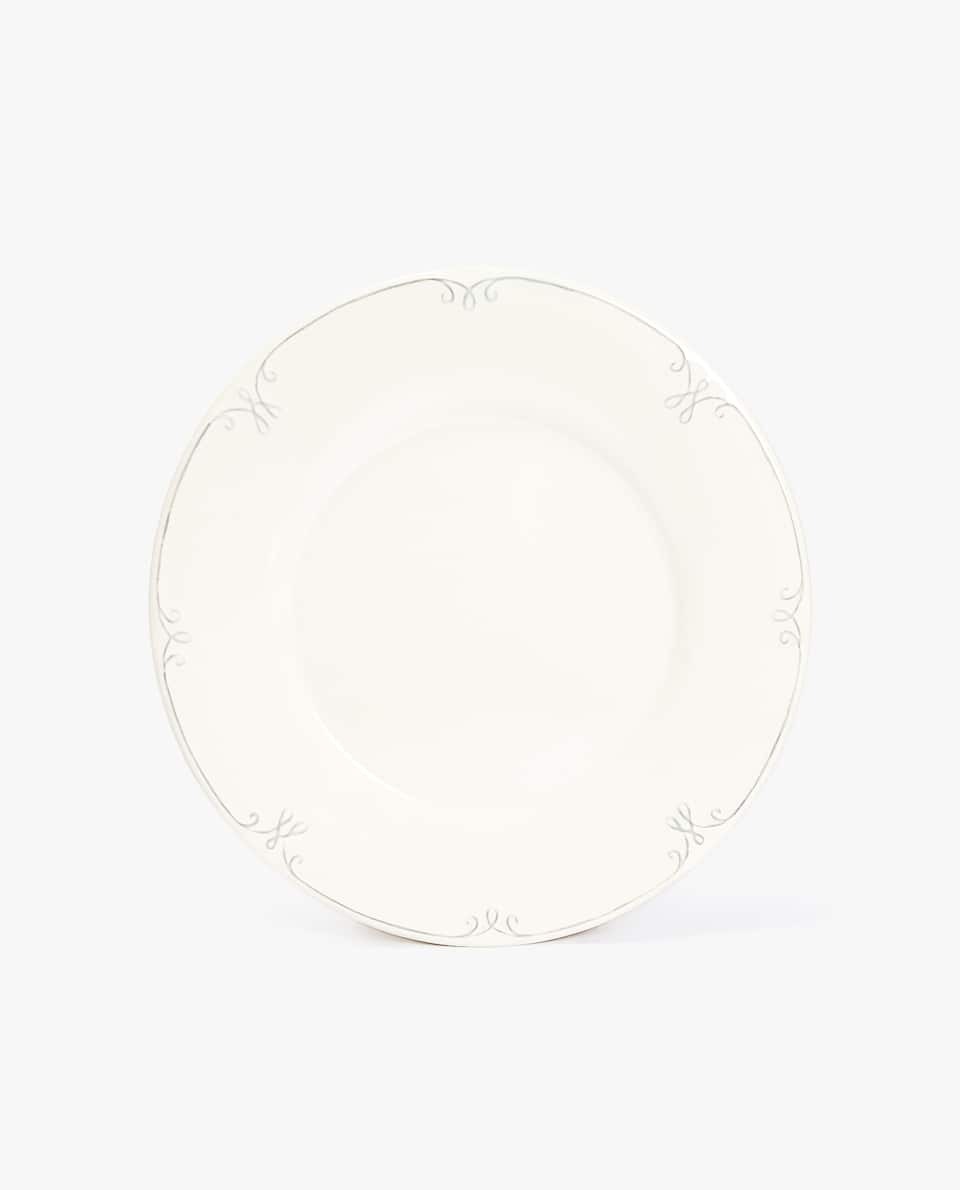 EARTHENWARE DINNER PLATE WITH RAISED-DESIGN RIM