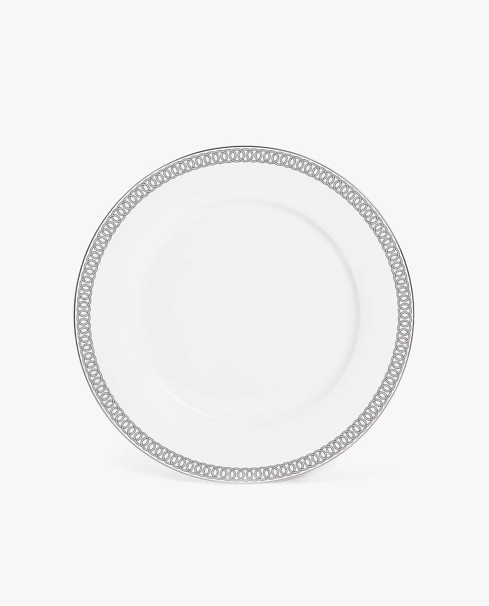 PORCELAIN CHARGER PLATE WITH SILVER RIM