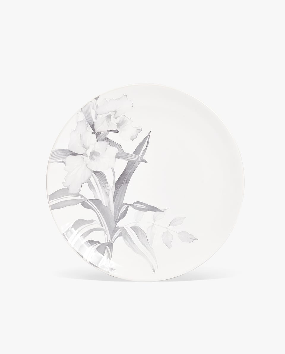 EARTHENWARE DINNER PLATE WITH LEAF PRINT