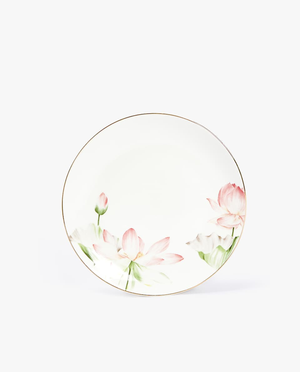 PORCELAIN DESSERT PLATE WITH FLORAL PRINT