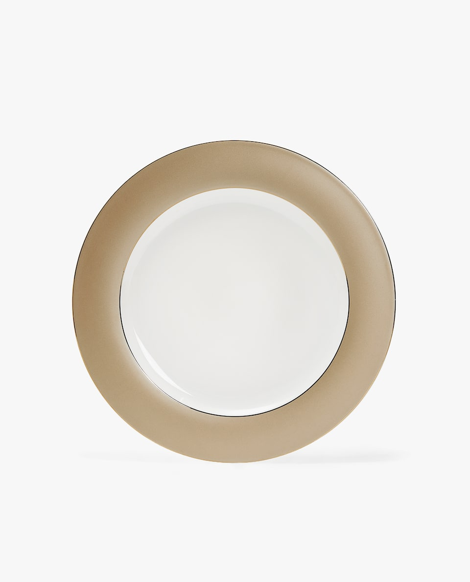 PORCELAIN CHARGER PLATE WITH CONTRASTING STRIPE